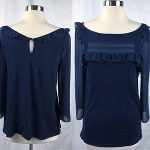 EUC✨BANANA REPUBLIC Navy Knit Top Sheer Sleeves S